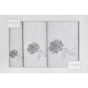 Sada 3 sivých ručníkov s rastlinným motívom