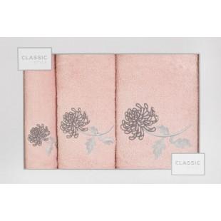 Sada 3 ružových ručníkov s rastlinným motívom