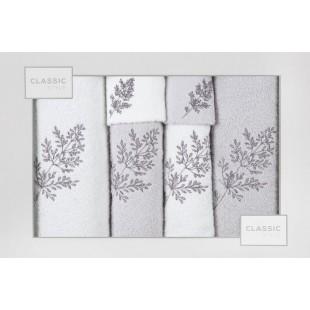 Sada 6 sivých ručníkov s rastlinným motívom