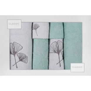 Sada 6 sivo-zelných ručníkov s rastlinným vzorom
