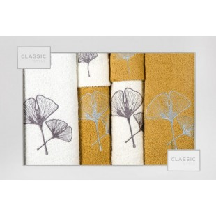 Sada 6 krémovo-horčicových ručníkov s rastlinným motívom