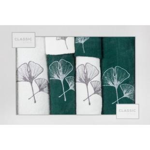 Sada 6 krémovo-zelených ručníkov s rastlinným motívom