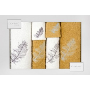 Sada 6 bielo-horčicových ručníkov s rastlinným motívom
