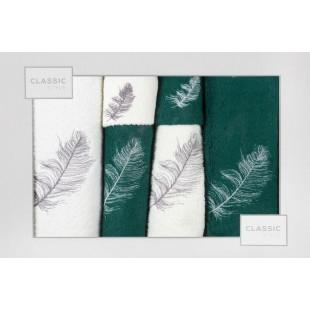 Sada 6 bielo-tmavozelených ručníkov so vzorom