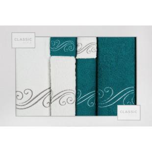 Sada 6 bielo-tyrkysových ručníkov so vzorom