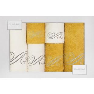 Sada 6 bielo-žltých ručníkov so vzorom