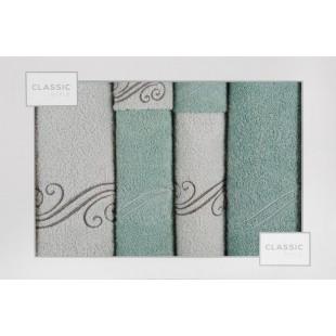 Sada 6 sivo-mätových ručníkov so zvorom