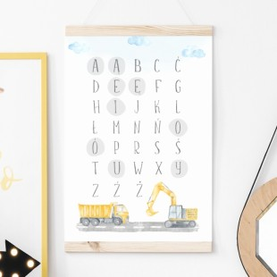 Detský plagát na stenu s motívom abecedy a áut