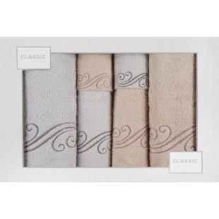 Sada 6 ružovo-sivých ručníkov so vzorom