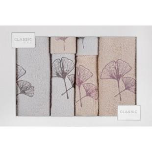 Sada 6 ružovo-bielých ručníkov s rastlinným motívom