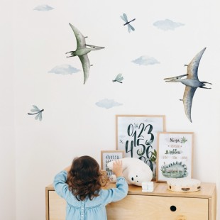 Detská nálepka s motívom lietajúcich dinosaurov
