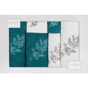 Sada 6 bielo-tyrkysových ručníkov s rastlinným motívom