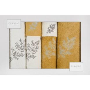 Sada 6 žlto-bielých ručníkov s rastlinným vzorom