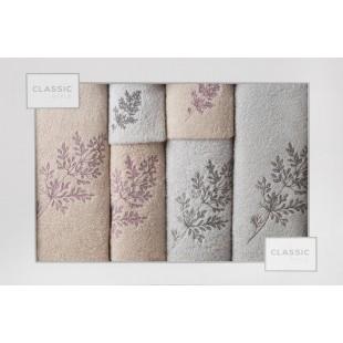 Sada 6 ružovo-sivých ručníkov s rastlinným vzorom