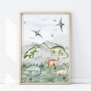 Plagát na stenu s motívom dinosaurov