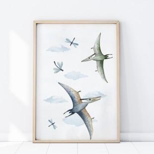 Plagát na stenu s motívom lietajúcich dinosaurov