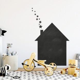 Nálepka na stenu z tabuľového materiálu vo vzore domčeke