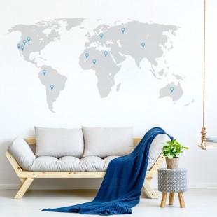 Nálepka na stenu s motívom mapy