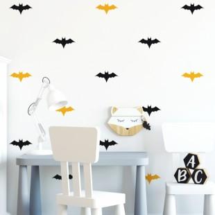 Čierno žlté detské nálepky na stenu - netopier
