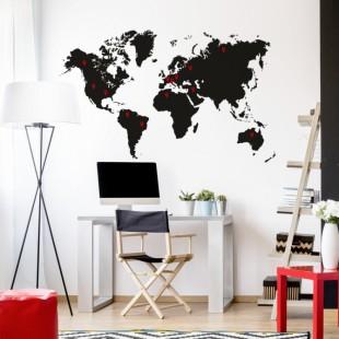 Nálepka na stenu s motívom mapy sveta
