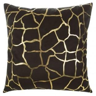 Čierna obliečka na dekoračný vankúš so zlatým vzorom