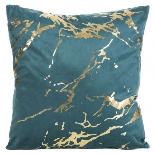 Tyrkysová obliečka na dekoračný vankúš so zlatým motívom