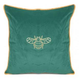 Zelená obliečka na dekoračný vankúš so zlatým motívom