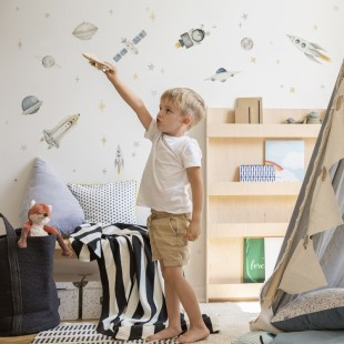 Sada nálepiek do detskej izby s motívom rakiet
