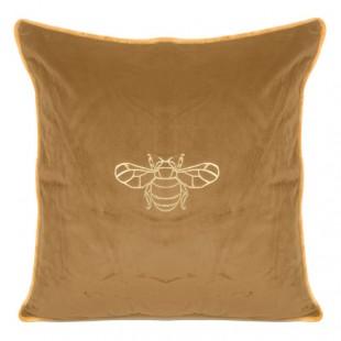 Hnedá obliečka na dekoračný vankúš so zlatým motívom