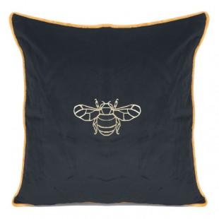 Čierna obliečka na dekoračný vankúš so zlatým motívom