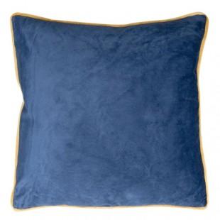 Modrá obliečka na dekoračný vankúš so zlatým lemovaním