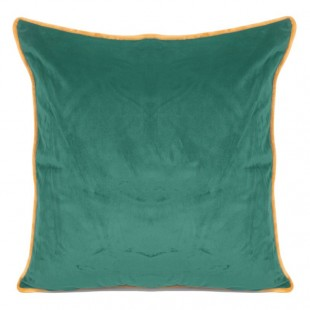 Zelená obliečka na dekoračný vankúš so zlatým lemovaním