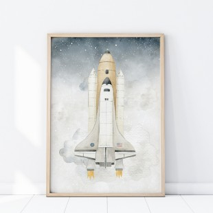 Plagát na stenu s motívom vesmírnej rakety