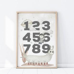 Plagát na stenu s číslicami a vesmírnym motívom