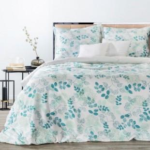 Modrá posteľná obliečka zo saténovej bavlny s rastlinným motívom