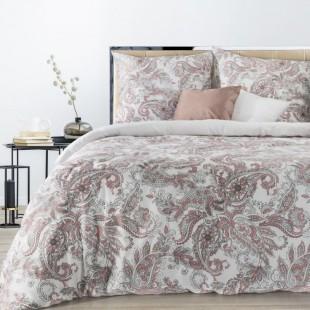 Ružová posteľná obliečka zo saténovej bavlny so vzorom