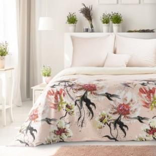 Ružová posteľná obliečka zo saténovej bavlny s kvetinovým vzorom