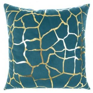 Tyrkysová obliečka na dekoračný vankúš so zlatým vzorom