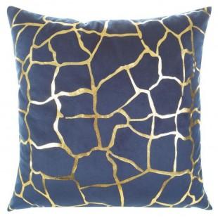 Modrá obliečka na dekoračný vankúš so zlatým vzorom