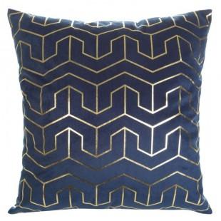 Modrá obliečka na dekoračný vankúš so zlatými vzormi
