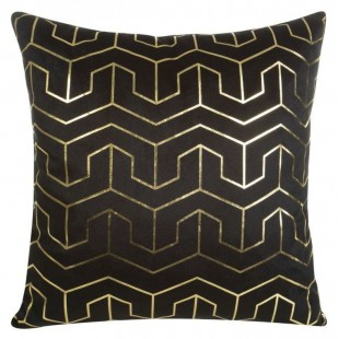 Čierna obliečka na dekoračný vankúš so zlatými vzormi