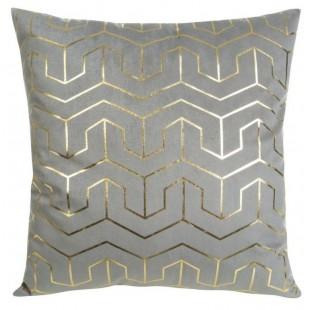Sivá obliečka na dekoračný vankúš so zlatými vzormi