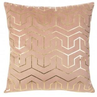 Ružová obliečka na dekoračný vankúš so zlatými vzormi