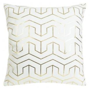 Biela obliečka na dekoračný vankúš so zlatými vzormi
