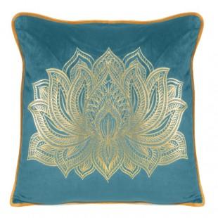 Tyrkysová obliečka na dekoračný vankúš s krásnym zlatým vzorom