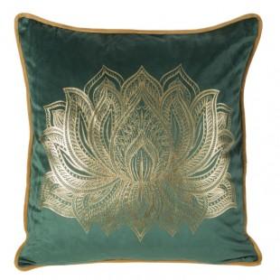 Zelená obliečka na dekoračný vankúš s krásnym zlatým vzorom