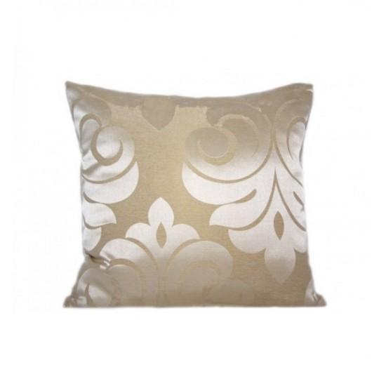 Béžová dekoračná obliečka na vankúš s elegantným vzorom