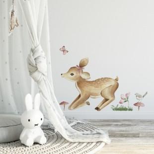 Nálepka jelenčeka na stenu s modrými kvietočkami