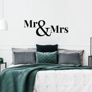 Nálepka na stenu s textom - Mr & Mrs