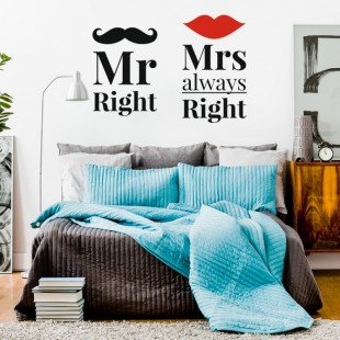 Nálepka na stenu s textom - MR RIGHT & MRS ALWAYS RIGHT